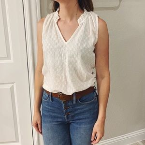 NWT Anthropologie Cloth&Stone Ruffle Blouse Sz MP